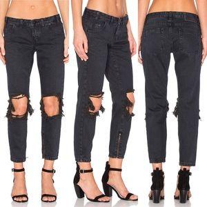 One Teaspoon Fox Black FreeBird Skinny Leg Jean 26